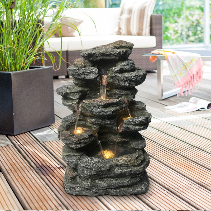 Heissner Gartenbrunnen Wandbrunnen LED