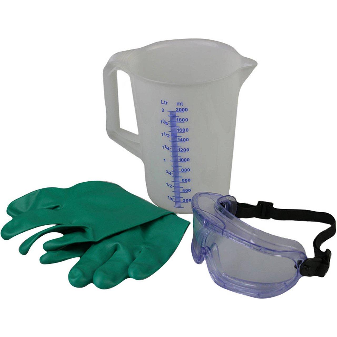 Chemie-Sicherheitsmess-Set- Messbecher, Schutzbrille, Schutzhandschuh, Web Shop
