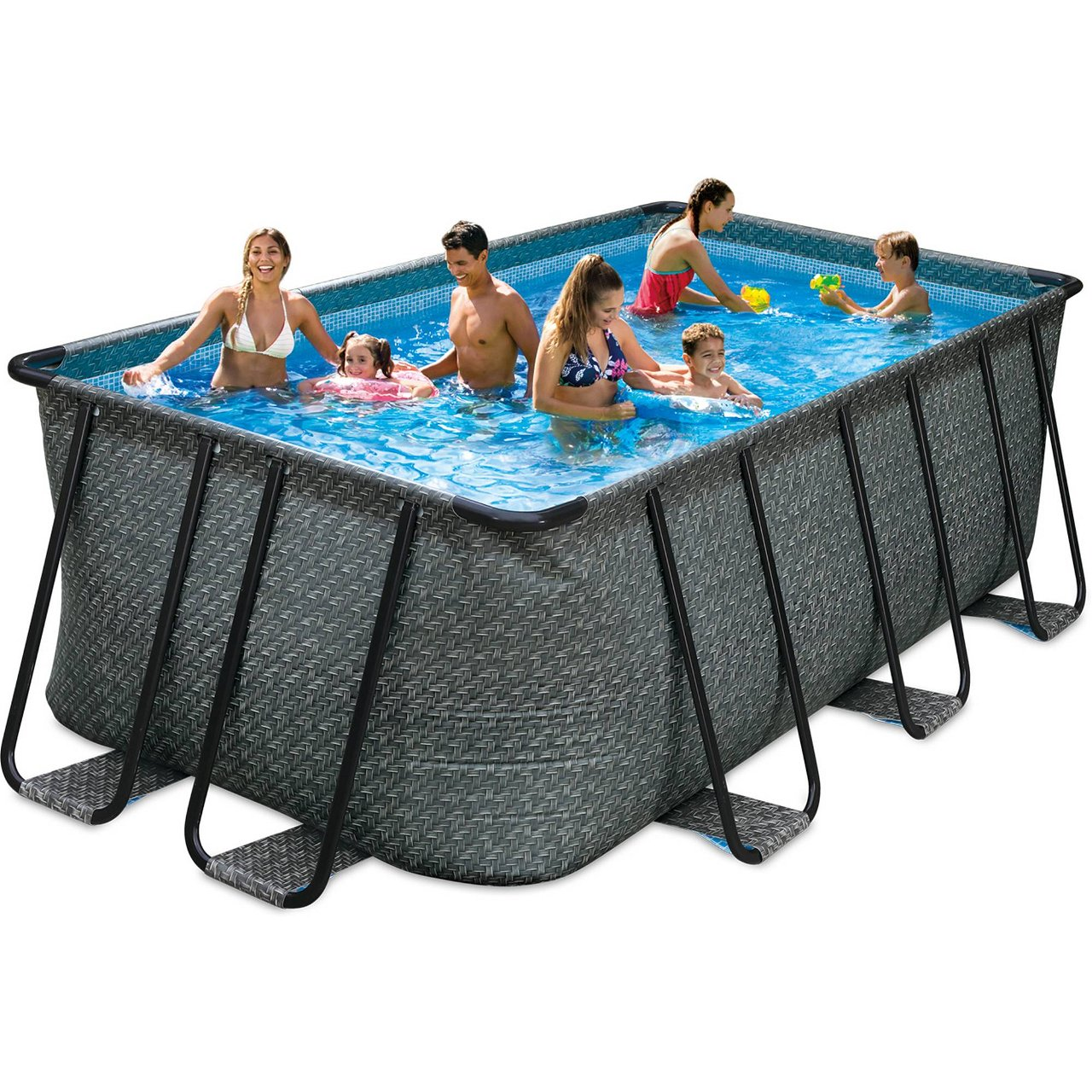 Elite Rechteck Frame Pool Set Rattan Braun 549 x 274 x 132 cm