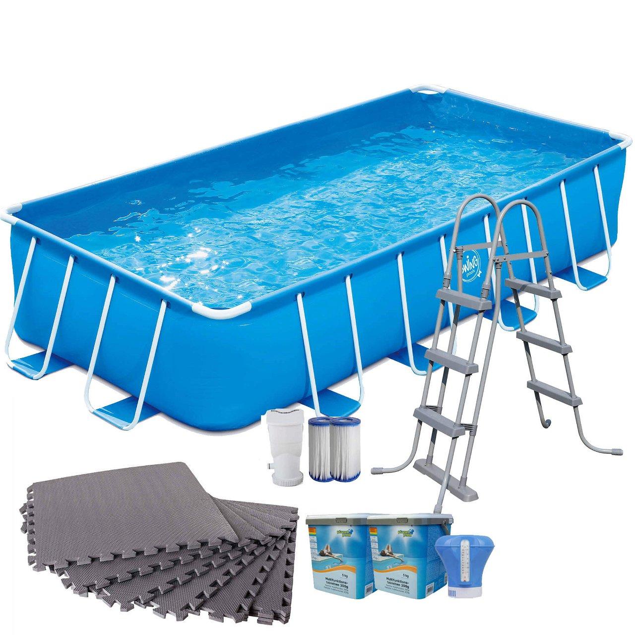 Frame Pool blau rechteckig 488x244x107cm Set mit Bodenschutzmatten grau 8mm