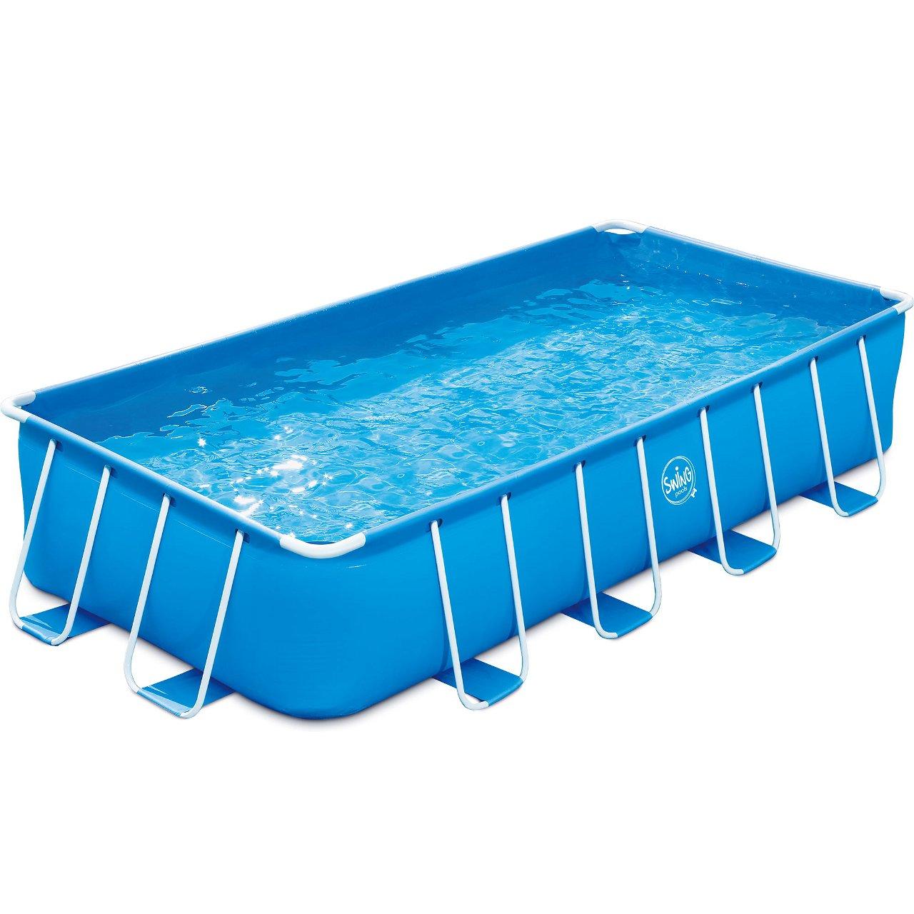 Frame Pool blau rechteckig 488x244x107cm Set  mit Skimmer Plus 1000 SX Kartuschenfilter