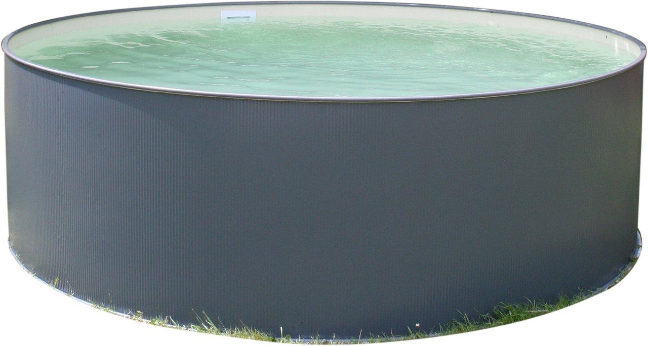 PLANET POOL Rundbecken-Set Anthrazit 450x120cm, 5 teilig