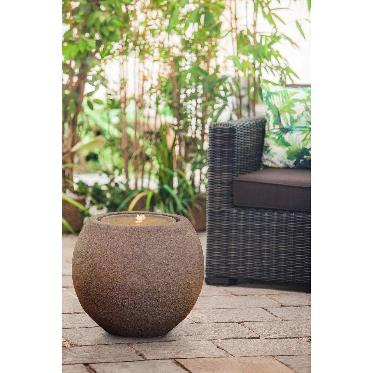 Heissner Gartenbrunnen Ball Terrakotta LED