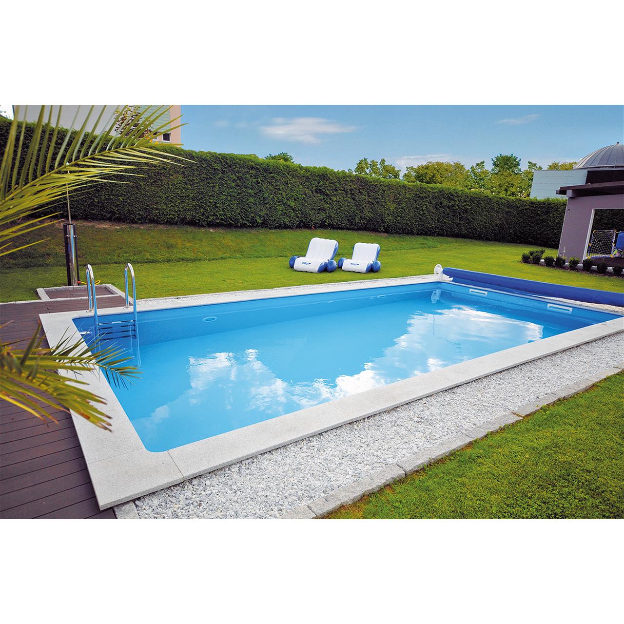 KWAD Styropor Stein Pool de Luxe 6,0 x 3,0 x 1,5m inkl. Edelstahlleiter