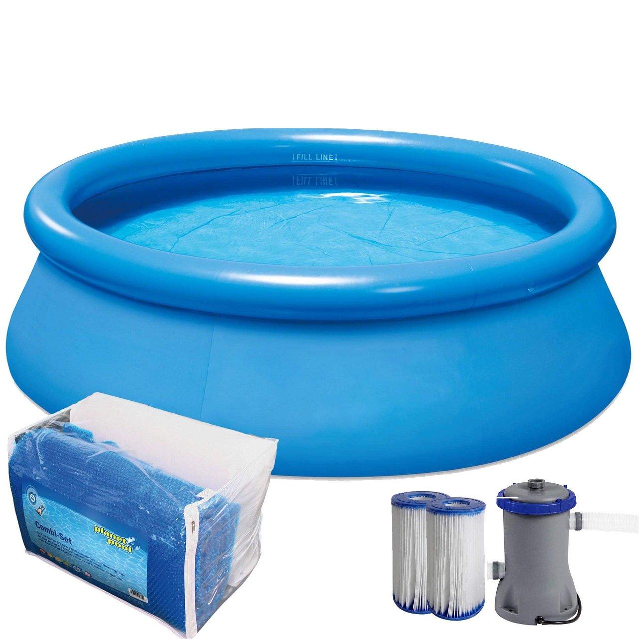 Quick Up Pool Set 244 x 66 cm inkl. Filter, Bodenschutz und Thermoabdeckung