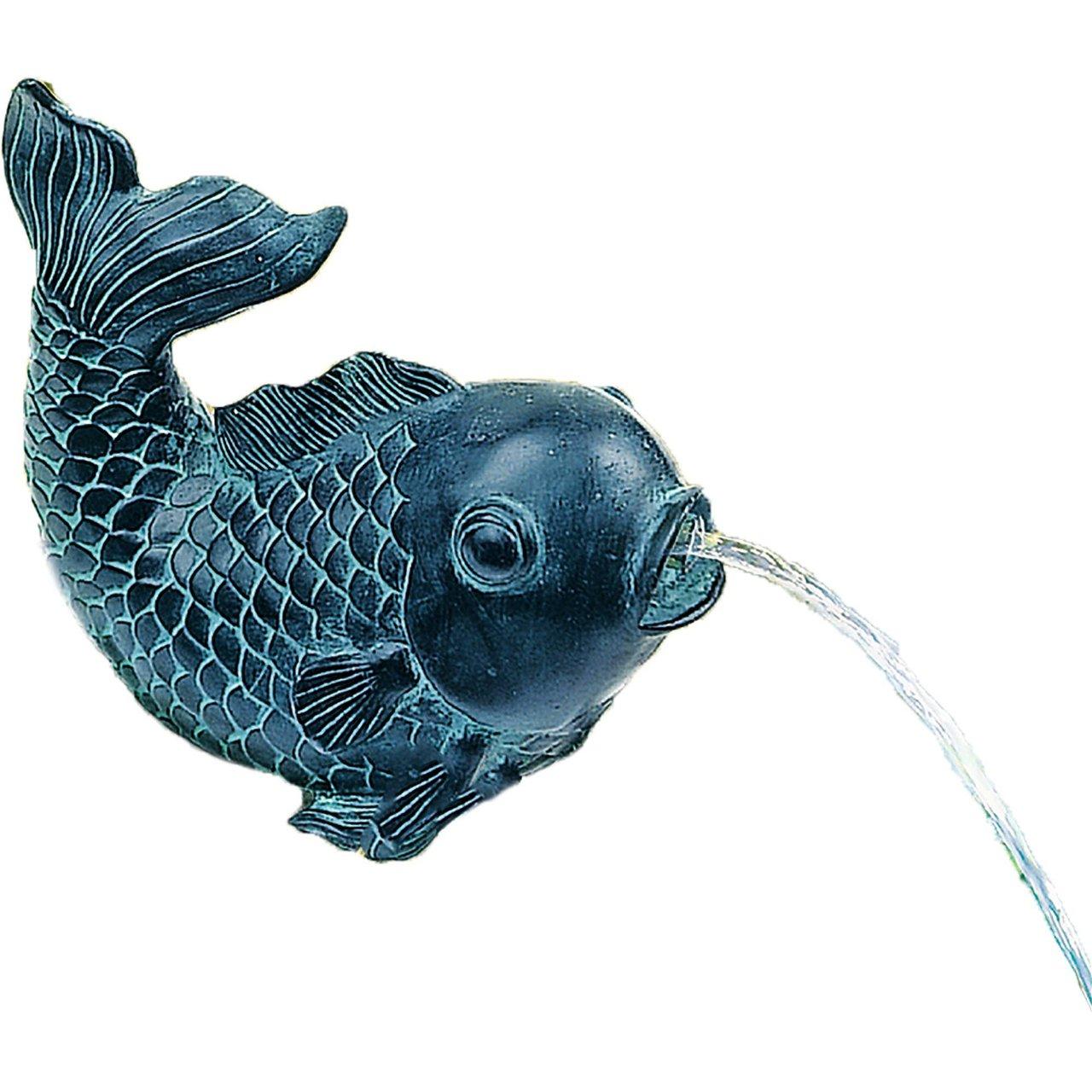 Teichfigur Speier  Fisch  Dekor Bronze