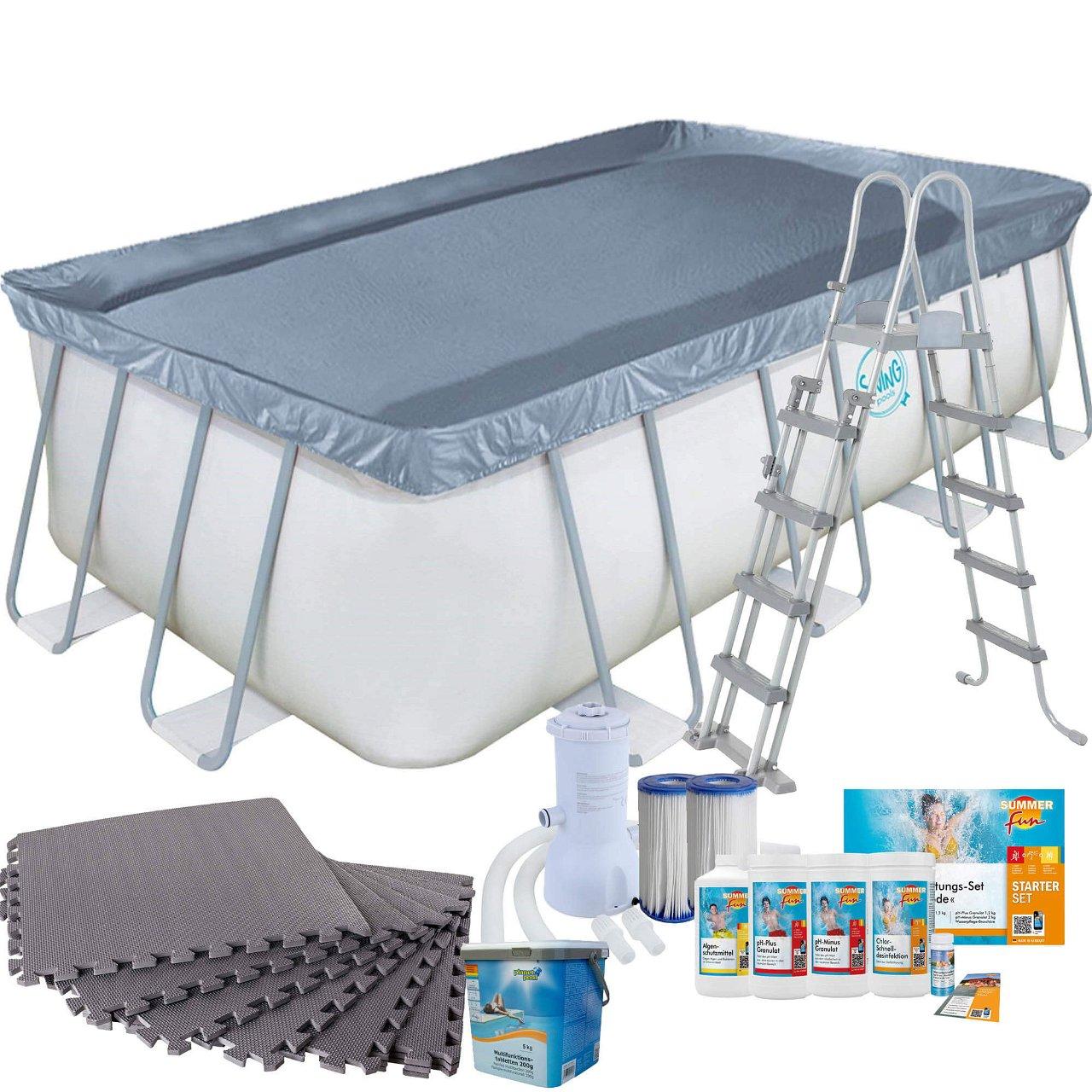 Frame Pool mit Kartuschenfilter, Bodenschutzmatten grau, Leiter und Starter Set Wasserpflege