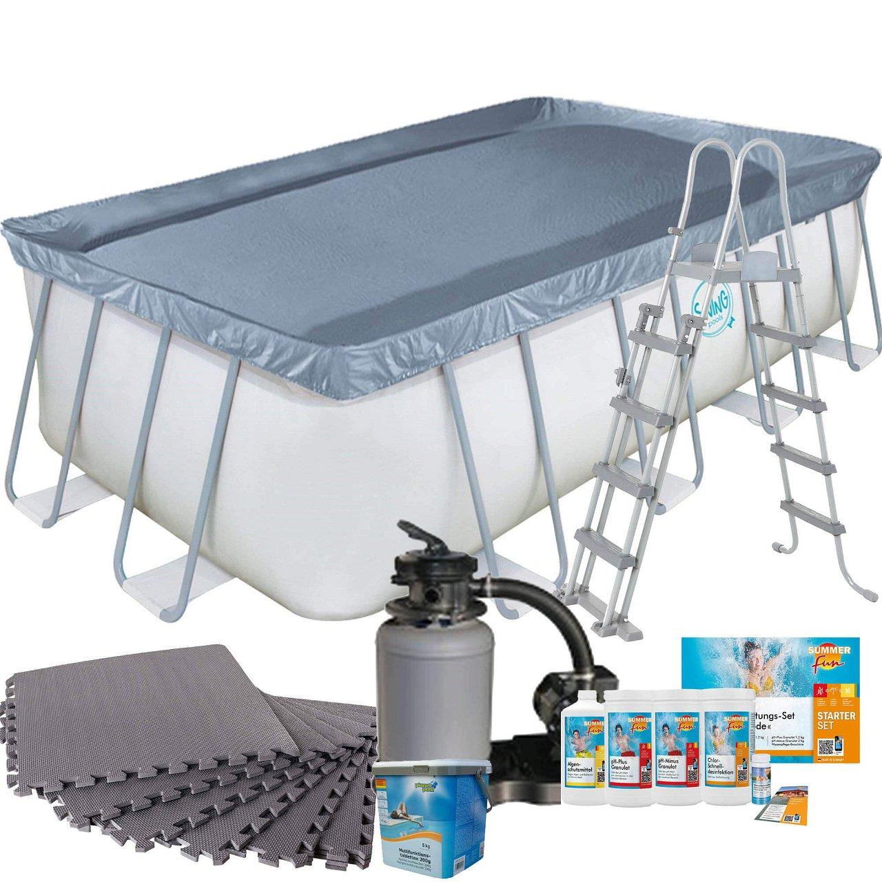 Frame Pool mit Sandfilter, Bodenschutzmatten grau, Leiter und Starter Set Wasserpflege