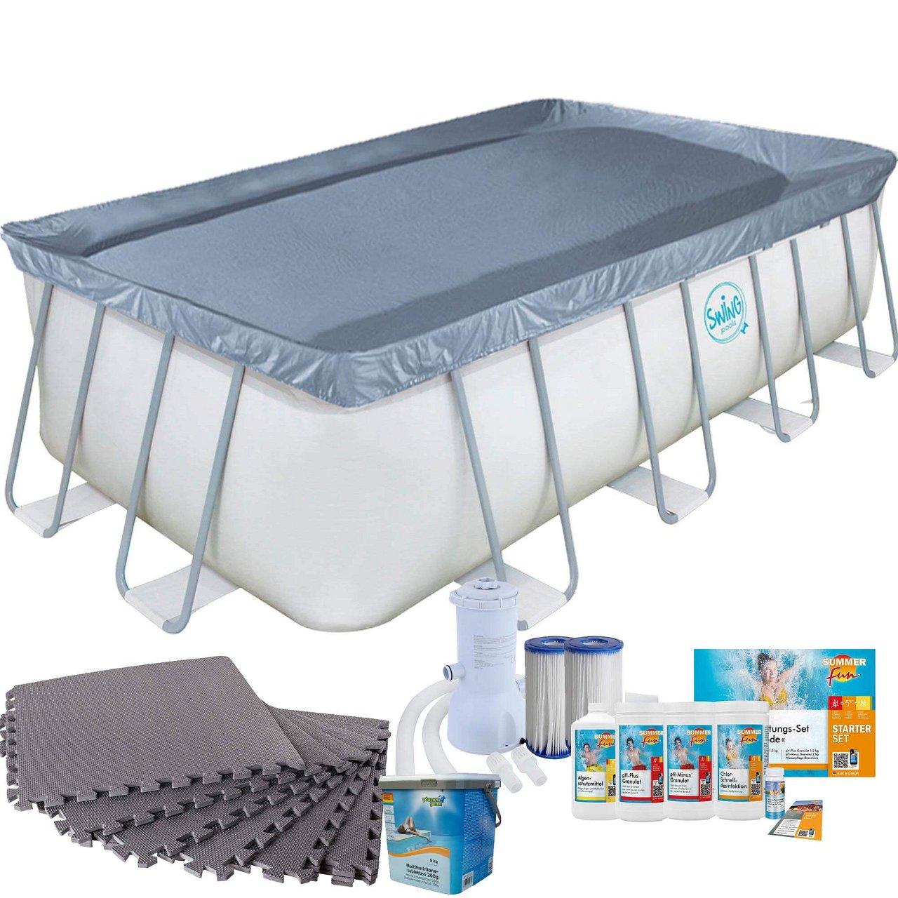 Frame Pool mit Kartuschenfilter, Bodenschutzmatten grau und Starter Set Wasserpflege