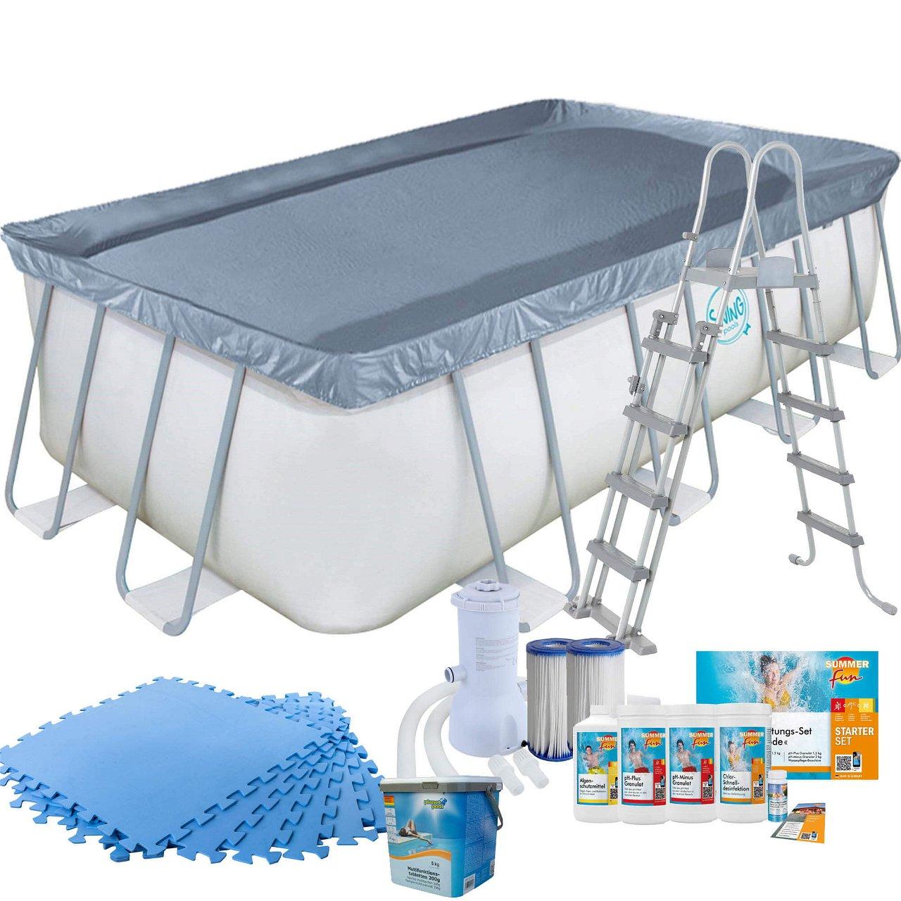 Frame Pool mit Kartuschenfilter, Bodenschutzmatten blau, mit Leiter und Starter Set Wasserpflege