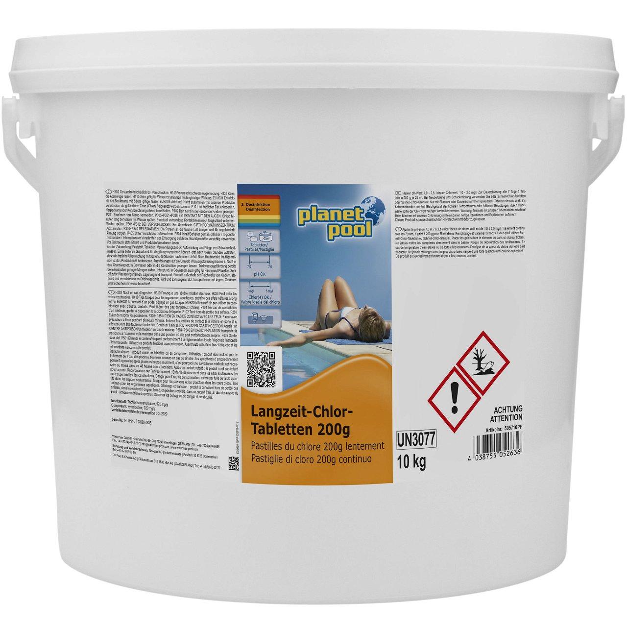 PLANET POOL Langzeit-Chlor-Tabletten 200g 10 kg