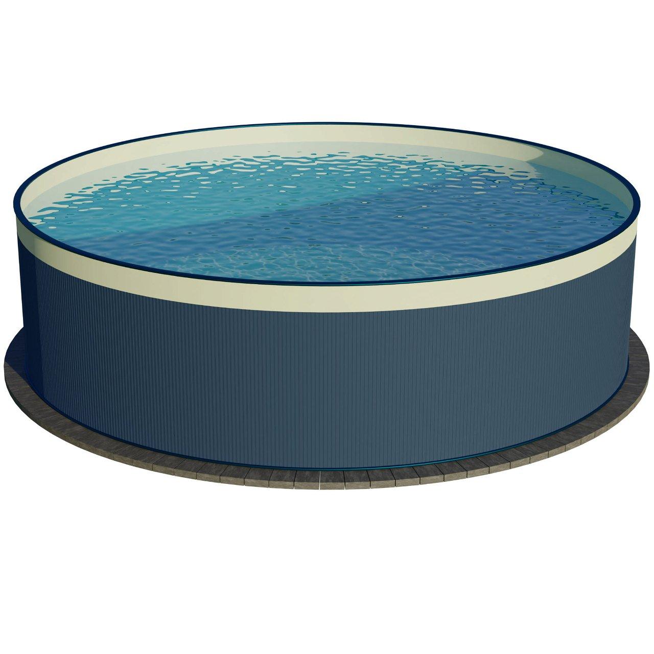 Stahlwandpool rundform anthrazit 450x90 cm, overlap S2
