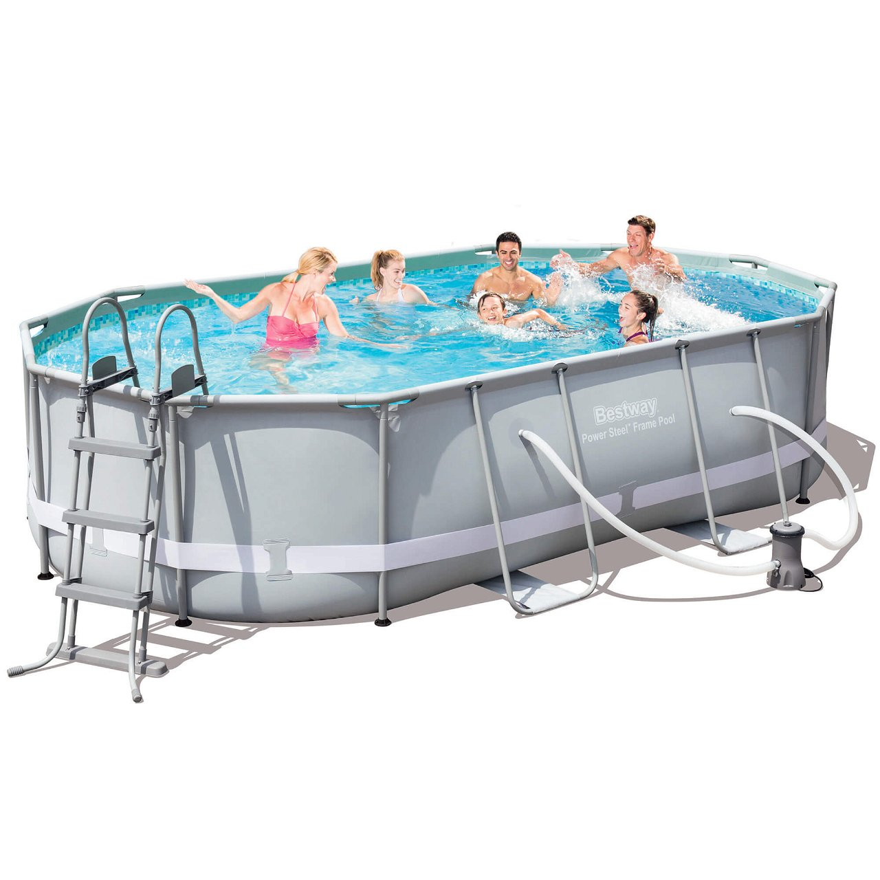 Bestway Power Steel Frame Pool Komplett-Set, oval, 488x305x107cm