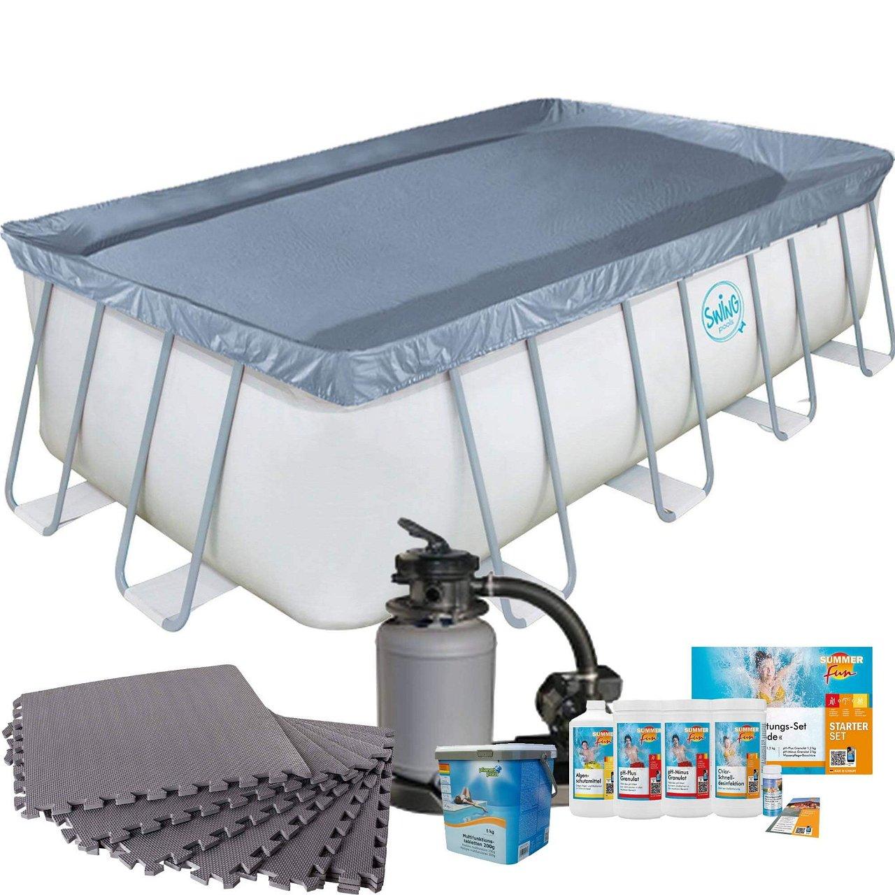 Frame Pool mit Sandfilter, Bodenschutzmatten grau und Starter Set Wasserpflege
